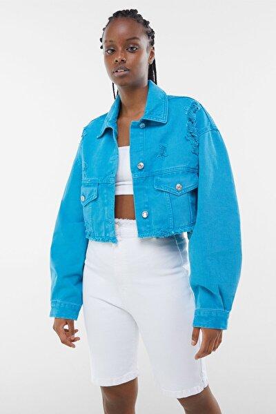 Kadın Mavi Acid Wash Distressed Ceket 01308019