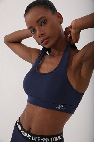 Indigo Kadın Sırt Detaylı Slim Fit U Yaka Spor Büstiyer - 97120
