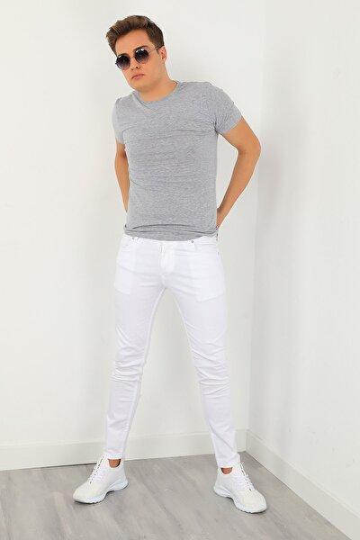 Erkek Beyaz Slim Likralı Pantolon