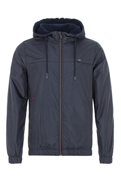 Erkek Lacivert Suya Dayanıklı Kapüşonlu Içi Astarlı Cepli Yağmurluk - Rüzgarlık Ceket
