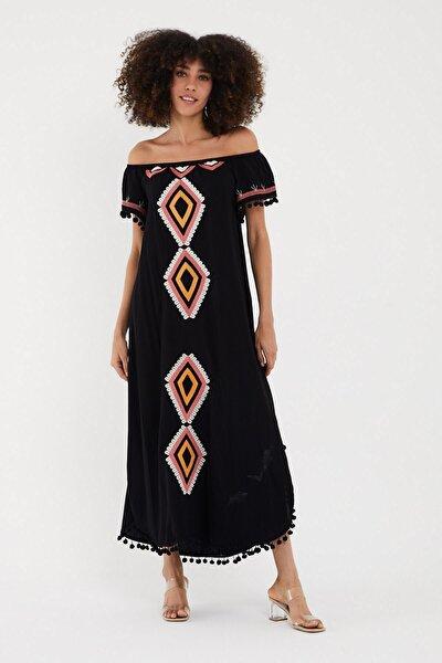 Valewoman Nakışlı Ponponlu Viskon Elbise