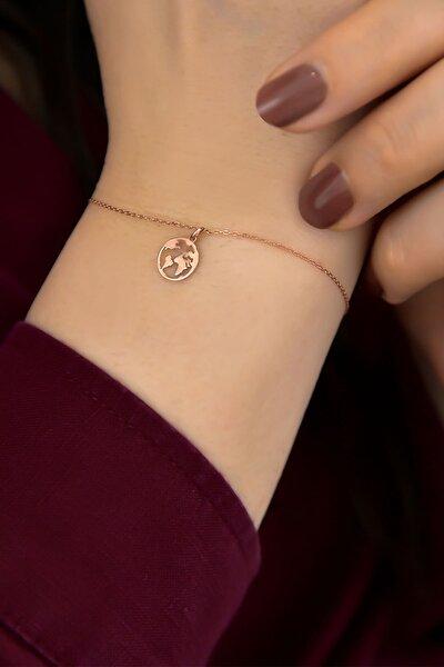 925 Ayar Gümüş Rose Kaplama Dünya Kadın Bileklik
