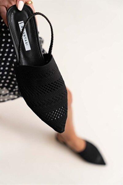 Kadın Siyah Örgü Detay Kısa Topuklu Sandalet