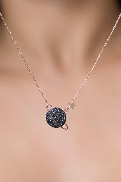 Kadın Gezegen Model Rose Kaplama 925 Ayar Gümüş Kolye