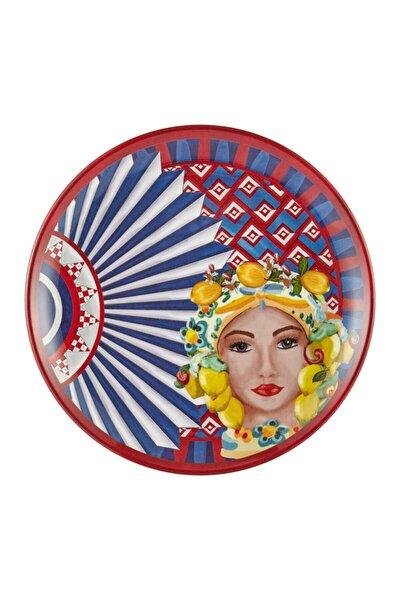 Posıtano Kadın Yüz Desenli Tabak 28 Cm