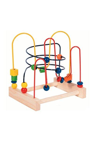 Ahşap Koordinasyon Oyunu Ahşap Helezon Oyunu Eğitici Oyuncak Orta Boy %100 Doğal Ahşap