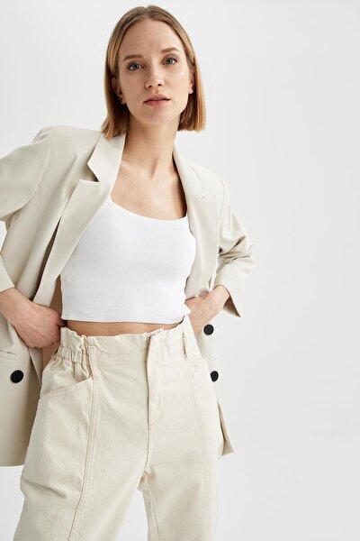 Kadın Ekru Oversize Fit Blazer Ceket