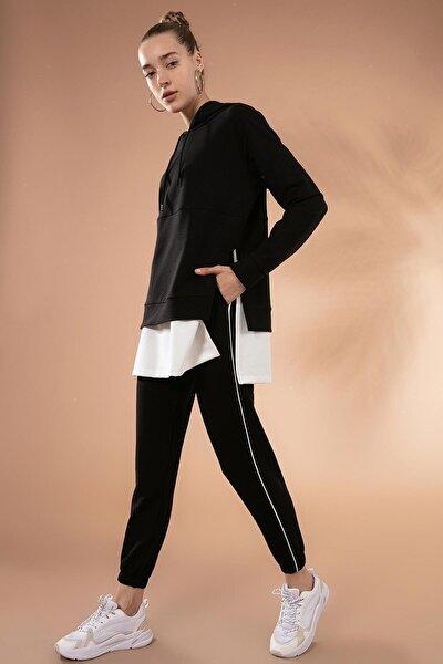 Kadın Siyah Etek Ucu Tişört Detaylı Örme Eşofman Takımı P20W-2140