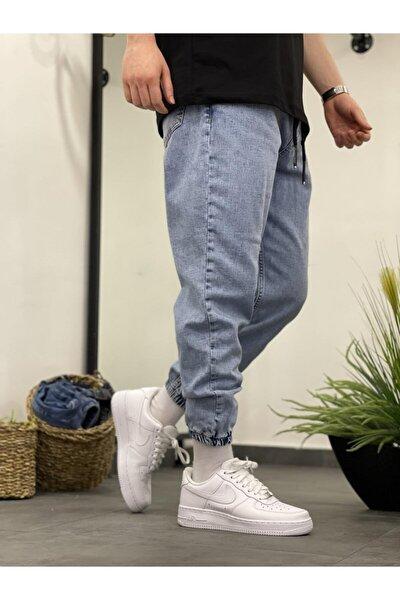 Lastikli Açık Mavi Jean
