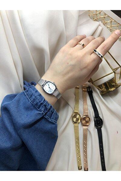 Retro Minimal Çelik Hasır Kordon Kadın Kol Saati - Gümüş