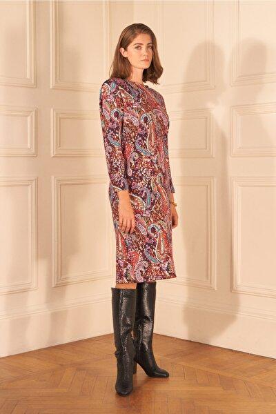 Kadın Mor Desenli Vatkalı Elbise
