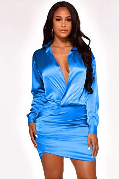 Bebe Mavisi Likralı Saten Kumaş Kolları Manşetli Düğme Detaylı Uzun Kol Kadın Gömlek Elbise