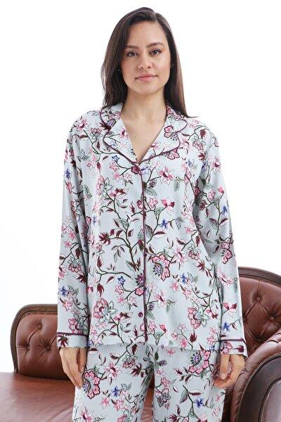1353-07 Viskon Uzun Kol Pijama Takım