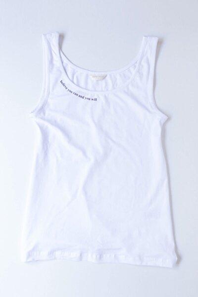 Blue Collage Kadın T-shirt - Beyaz