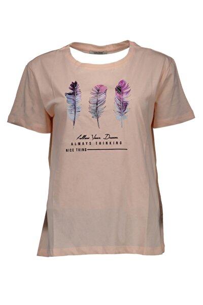Kadın Pudra Örme Kısa Kollu  T-Shirt