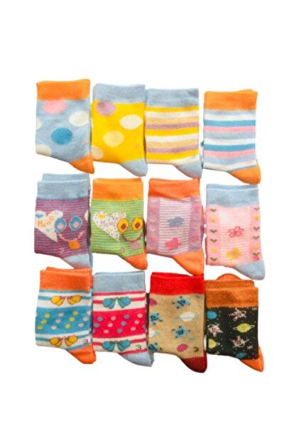 3 Yaş Unisex Çocuk Çorapları 12 Adet Karışık