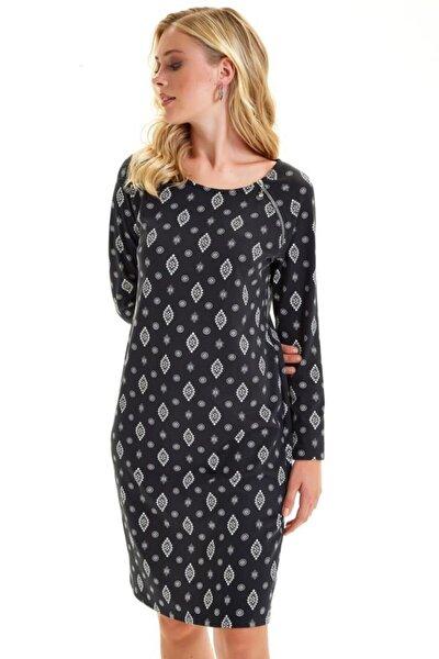 Yakası Fermuarlı Desenli Elbise 201-2526