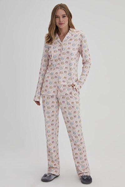 Pembe Kadın Tavşan Baskılı Gömlek Pijama Takımı