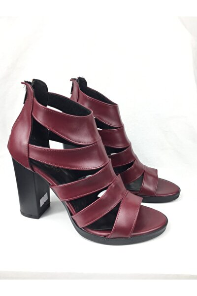 Bordo Cilt Bayan Topuklu Ayakkabı