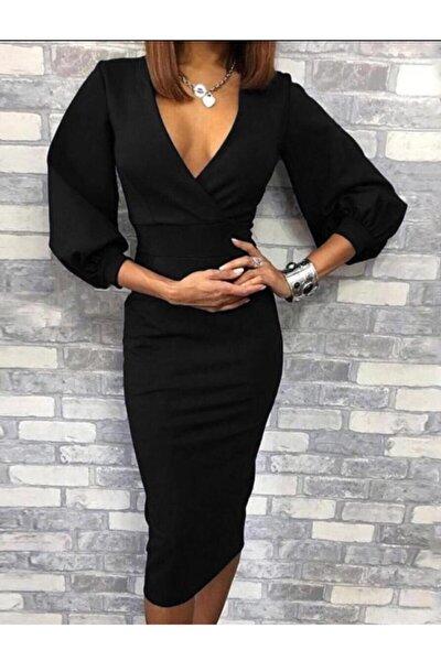 Esnek Krep Kumaş Kruvaze Yaka Uzun Kollu Siyah Elbise