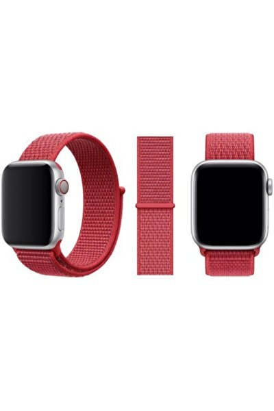 Apple Watch - 42mm 44mm Kırmızı Nike Spor Loop Model Cırtlı Kordon Kayış Örme