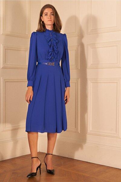 Kadın Saks Kemerli Uzun Kol Şifon Elbise