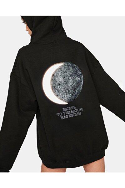 Dolunay Reflektörlü Kapüşonlu Sweatshirt