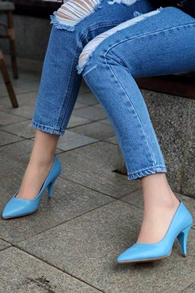 Kadın Mavi Anabelle Deri Topuklu Stiletto Ayakkabı