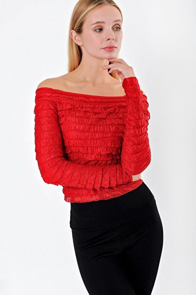 Kadın Fırfırlı Madonna Yaka Uzun Kol Bluz-kırmızı
