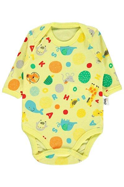 Erkek Bebek Ay Sarı Çıtçıtlı Badi