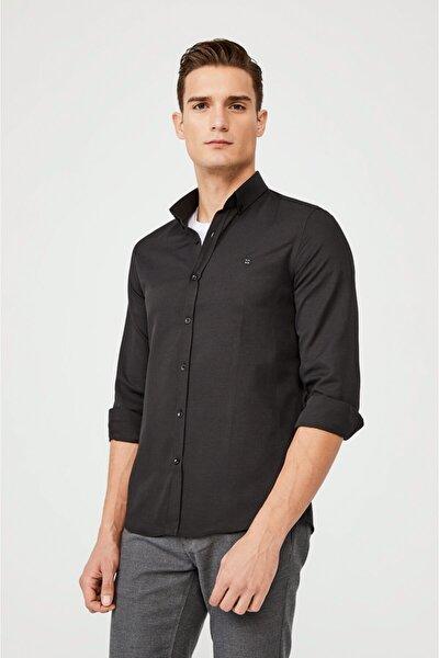 Erkek Siyah Oxford Düğmeli Yaka Slim Fit Gömlek E002000