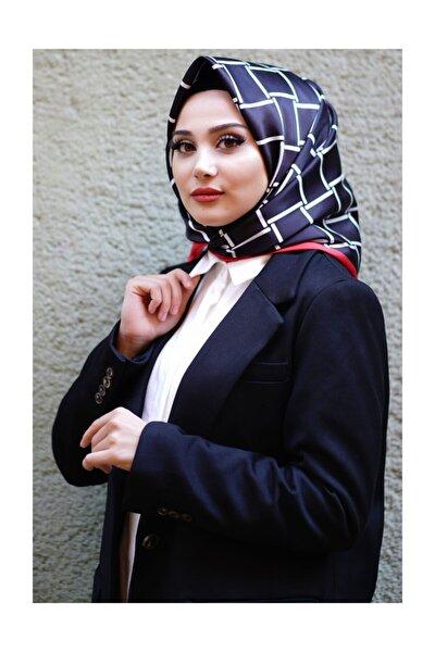 Kadın Siyah Dijital Baskılı Twill Eşarp Afv-5034-v1