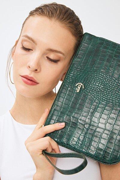 Kadın Basic Clutch Çanta Kroko Timsah Desen Yeşil 214002