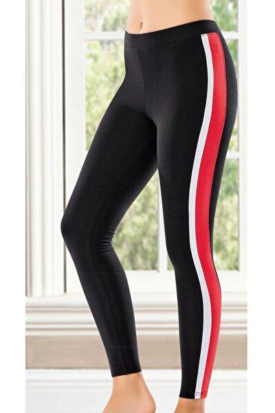 Siyah Kırmızı Beyaz Şeritli Siyah Tayt 0594
