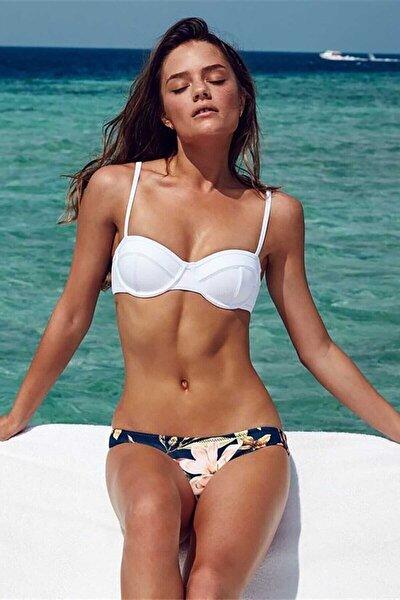 Kadın Üstü Beyaz Altı Renkli  Bikini Takımı