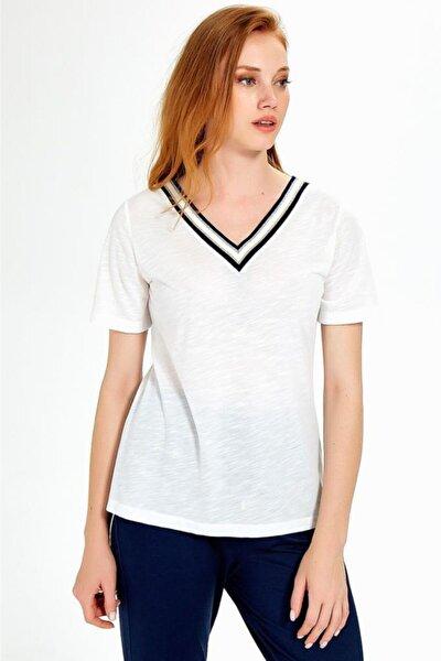 Kadın Kırık Beyaz Yakası Sim Bantlı Kısa Kol Flam Bluz