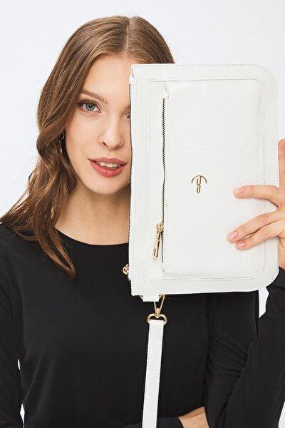 Kadın Basic Clutch Çanta Kroko Timsah Desen Beyaz 214003