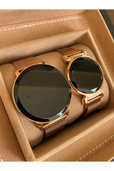 Rose Gold Renk Hasır Mıknatıslı Kordon Dokunmatik Ekran Sevgili Saatleri