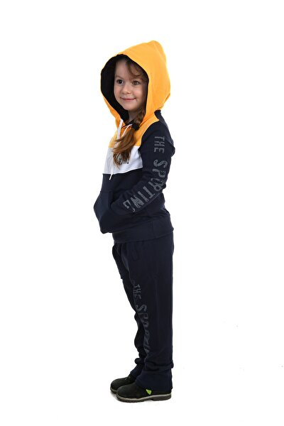 Çocuk Unisex Lacivert Sarı Kapüşonlu Eşofman Takımı