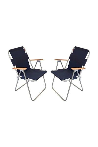2 Adet Katlanır Kamp Sandalyesi Balkon Sandalyesi Katlanabilir Piknik Ve Bahçe Sandanyesi Lacivert
