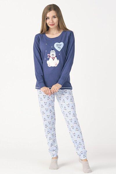 Tavşan Panda Ayıcık Desenli Uzun Kollu Örme Pijama Takımı
