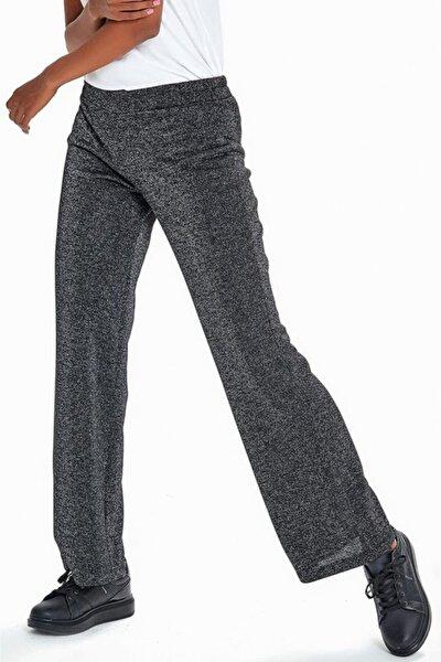 Kadın Siyah Beli Lastikli Simli Pantolon