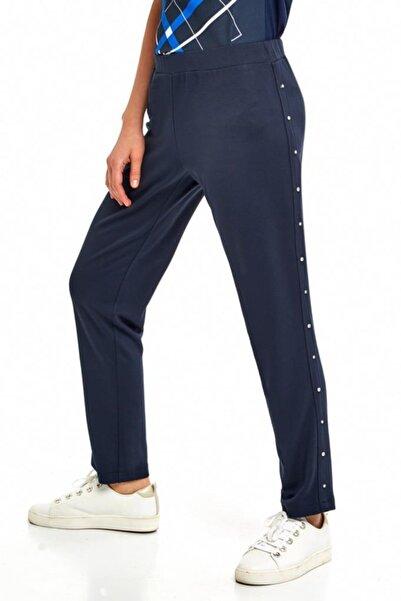 Kadın Lacivert Yanları Taşlı Beli Lastikli Pantolon