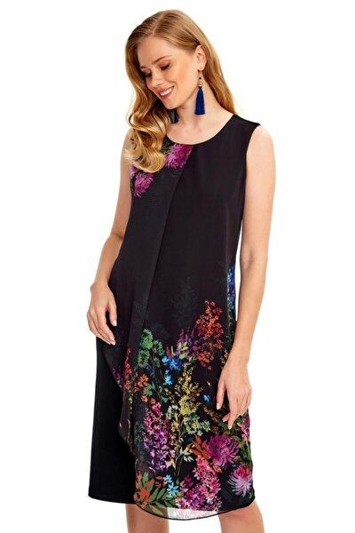 Kadın Siyah Önü Desenli Şifon Garnili Kolsuz Elbise 020-2521