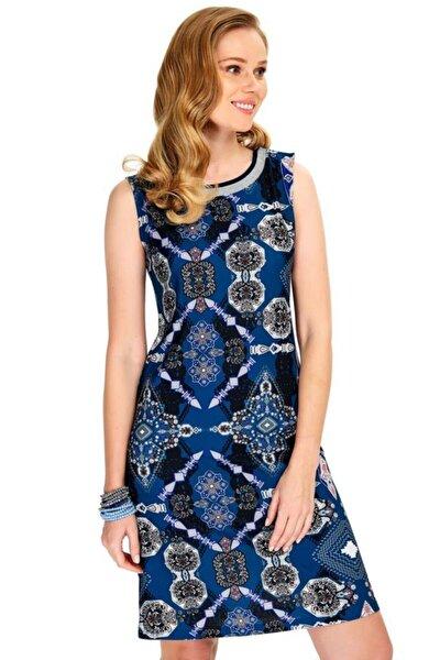 Kadın Lacivert Yakası Triko Bantlı Tek Omzu Çıtçıtlı Kolsuz Elbise 020-2508