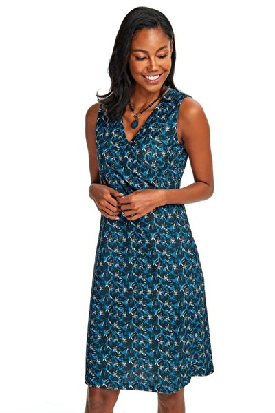 Kadın Lacivert Kruvaze Yakalı Kolsuz Elbise 020-2515