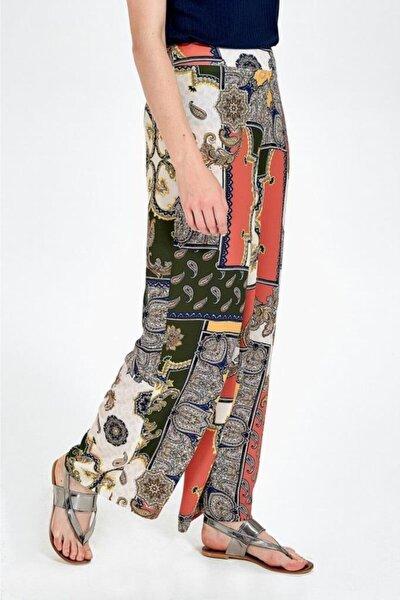 Kadın Renkli Beli Lastikli Desenli Bol Pantolon 019-04-3519