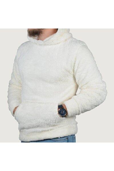 Unisex Beyaz Peluş Kapüşonlu Sweatshirt
