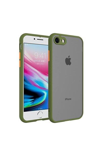 Iphone 7g / 8g / Se 2020 Kenarları Renkli Kamera Korumalı Transparan Kılıf