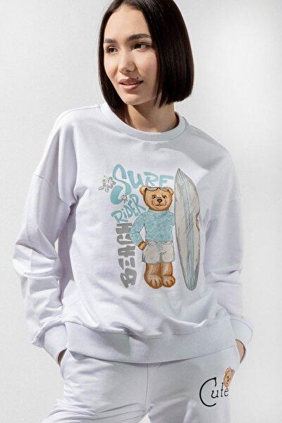 Blue College Kadın Sweatshirt - Beyaz